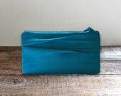 Pleated Satin Turquoise Clutch- Steel Blue Purse- Simple Bridesmaids Purse