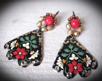 Tin Earrings. Repurposed Earrings. Bohemian Bliss Dangle Gypsy Earrings
