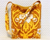 Deer Antler Damask Purse - Handmade Hobo Bag - Yellow and Brown Antler Fabric Purse - Hobo Bag Purse - Woodland Handbag - BizzieLizzie Bags