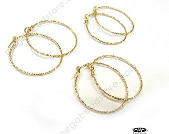 6 pcs 20mm Sparkle 14k gold Filled Round Beading Hoop Ear Wire F115GF