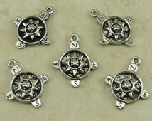 5 Compass Charms > North South East West Steampunk Travel GPS Geocache Lost Hiking - Raw Unfinished American Made Lead Free Silver Pewter