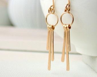 Petite Fringe Earrings. Gold Fringe Earrings. Silver Fringe Earrings. Rose Gold Fringe Earrings. Hammered Metal