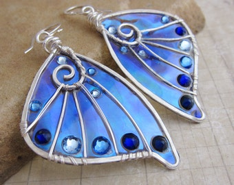 Sihaya Designs Faery Wing Earrings - The Sluagh in Sterling Silver - Iridescent Faery Wings Earrings - Fairy Wings - Faerie Wings