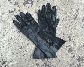 Women's Vintage Gloves, 1950's Black Leather, Embroidered Back, Mid Length, Small