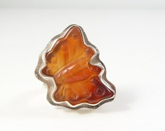 Butterfly Ring, Carved Carnelian, Orange Gemstone, Natural Stone, Carnelian Butterfly, Sterling Silver, Insect Ring, Butterfly Jewelry