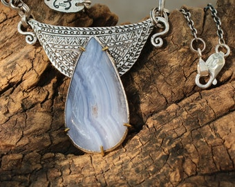 White agate teardrop pendant necklace with patterned silver backing and oxidized silver chain