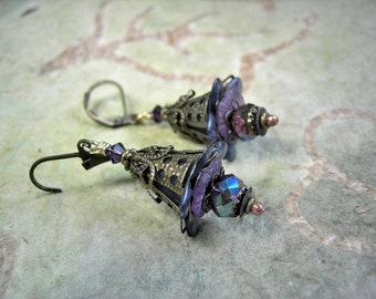 Smoky Blue Fairy Bell Earrings, Victorian Faery, Nostalgic Romance, Blue & Purple, Lacy Filigree, Gift Under 30, Elksong Jewelry
