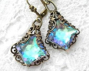 Crystal Mist - Filigree-Wrapped Aurora Borealis Glass Jewel Earrings