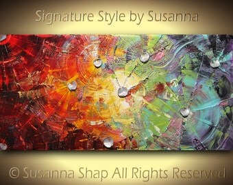 ORIGINAL Large Abstract Oil Painting, Multicolored Home Decor, Wall Art, Palette Knife Texture Canvas, Modern Art, 48x24 by Susanna