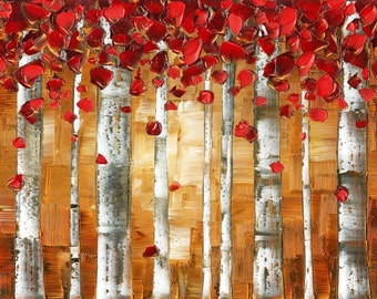 Fine Art Prints on Gallery Canvas red birch trees autumn fall aspen landscape art forest art red and brown wall art red brown art -susanna