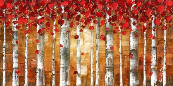 red birch trees art digital print on canvas autumn fall aspen landscape art forest art red and brown wall art by susanna red brown art