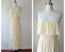 BEIGE spagetti straps LACE maxi dress / hippie wedding dress / small- medium