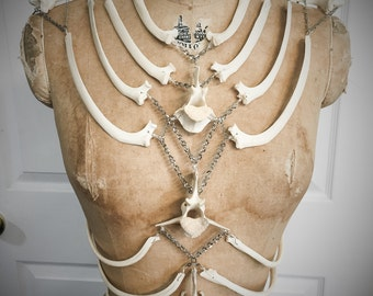 Reserved for Ka First payment Bone Chain Harness Corset Top by Louise Black