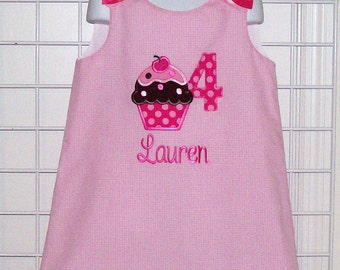 Birthday Cupcake with Number Applique Birthday Party Dress - pink gingham birthday dress - cupcake with sprinkles dress - number dress
