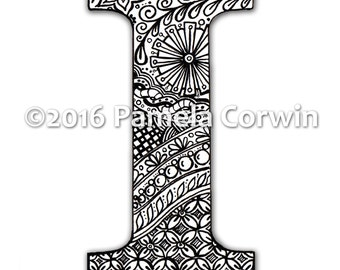 I Monogram Coloring Page