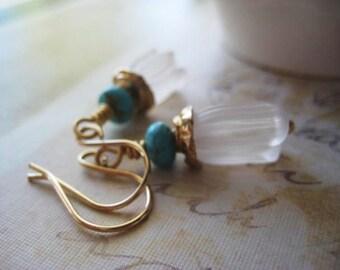 Tulip Earrings, White Flowers, Artisan Beadcaps, Golden Bronze, Turquoise Rondelle, Genuine Gemstone, Spiral Beadcap, 14k Gold Fill