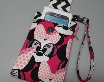 Women's Wristlet Wallet or Small Bag Minnie Mouse Fabric