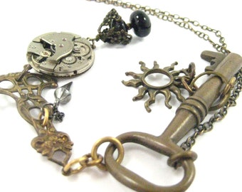 Sun Key To Time, Steampunk  Antique Skeleton Key Necklace,   steampunk key, skeleton key, antique steampunk skeleton necklace, steampunk