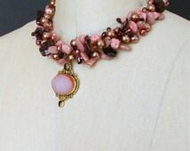 Rhodochrosite Necklace - Garnet - Pearls - Druzy Pendant