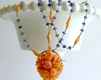Blue Kyanite 14K Gold Antique Carved Coral Necklace - Daphne Necklace