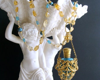 Citrine Nuggets Apatite Cartouche Chatelaine Scent Bottle Necklace - Rosalie Necklace