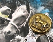 Horse, Antique BUTTON Bookmark, Victorian stallion sporting button on silver.