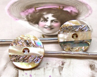 Pearlie Antique BUTTON hair pins, Victorian mother-of-pearl on silver bobby pins, hair grips, present gift. Vintage button jewellery.