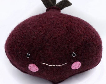 Burgundy Beet- Recycled Wool Sweater Plush Toy