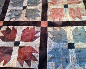 Bear Paw Quilt Blue and Brown Batik