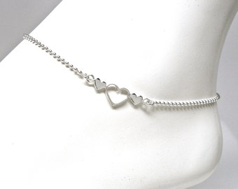 Anklet Sterling Silver Bead Chain with 3 Hearts Adjustable from 9 to 10 Inches via extender chain 1.2mm Style no. 289