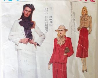 Vintage Vogue Paris Original Sewing Pattern Christian Dior 80s Jacket Skirt Blouse Vogue 2111 34 Bust