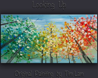Original abstract painting Tree art Looking Up forest on gallery wrap canvas acrylic painting home art by tim Lam 48x24
