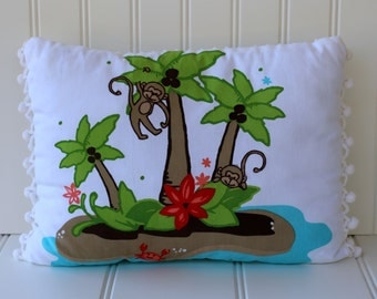 Monkey Island and Vintage Chenille Pillow with Pom Trim - White Turquoise