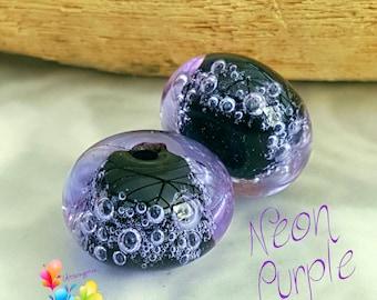 Glass Lampwork Beads Neon Purple Bubbles Pair