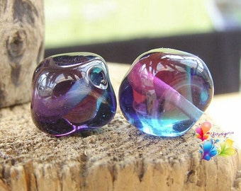 Lampwork Beads Deep Purple and Blue Two Tone Nuggets Pair