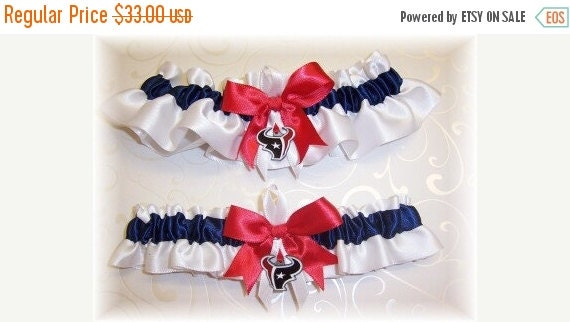 FALL SALE Handmade Wedding Garter Set with Houston Texans charms  Satin W-Nrw