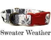 "Black Gray Red White Nordic Swiss Sweater Deer Winter Dog Collar - Organic Cotton - Antique Brass Hardware - ""Sweater Weather"""
