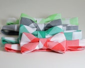 Pastel Gingham Check Boy's Bow Tie, Coral Bowtie, Mint Bow Tie, Toddler, Baby, Wedding Ring Bearer, Choose Your Color