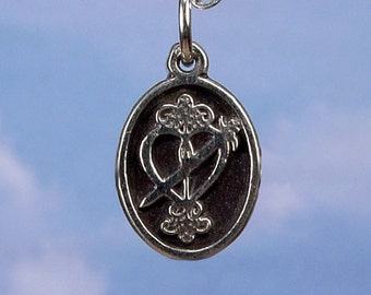 PETITE MEDAL - VOODOO - Erzulie Dantor Veve Charm Pendant in Sterling Silver, Bronze, 14K Gold