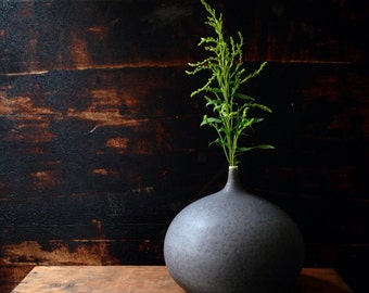 MADE TO ORDER- one large ceramic stoneware bottle vase in Slate matte by sara paloma.  Modern pottery and ceramics vases mid- century