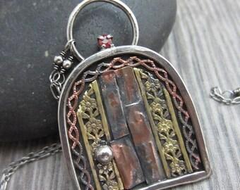 SALE Little Hidden Door Necklace - Sterling Silver, Copper, Brass with Sapphire