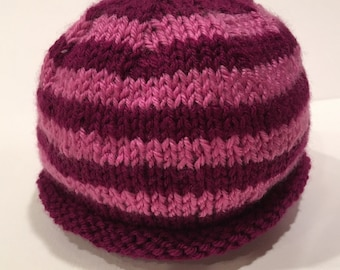 Pink + Magenta 0-3m Knit Baby Hat - Handmade - READY TO SHIP