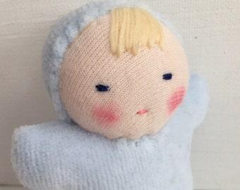 Waldorf doll, pocket doll, germandolls, light blue, handmade doll, waldorf toy, party favor