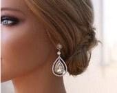 Silver Bridal Earrings Teardrop Earrings  Dangle Crystal Teardrop Earrings Best Bridal Earrings Crystal Embellished Earrings