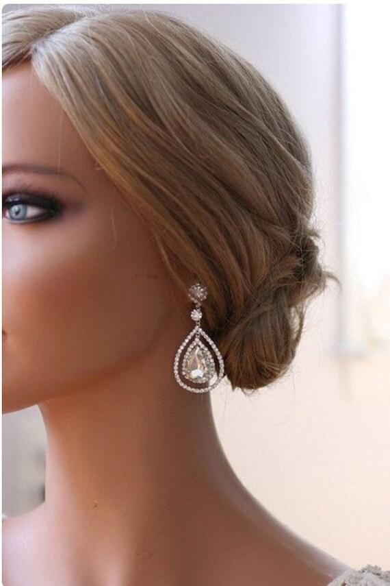 Platinum Chandelier Teardrop Bridal Earrings Wedding Earrings