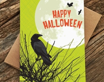 happy halloween card / raven moon