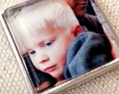 Custom Photo 1 Inch Glass Tile Set in Silver Tray- For Bridal Wedding Bouquet