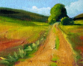 Landscape Oil Painting, Small 4x6 Original, Canvas, Country Road, Trees, Fields, Green, Blue Sky, Summer Rural Scene, Miniature Wall Decor