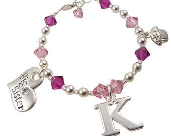 Personalized Sister Birthday Bracelet, Cupcake, Initial & Big Sister Charms in Pink and Fuchsia, choose colors and personalization, Gift