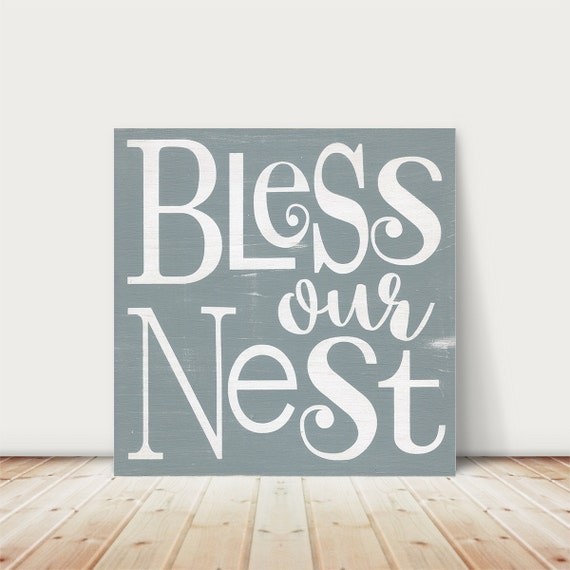 Bless our nest sign. Bless our Home. New Home gift. Housewarming sign. Family sign. Square Wood Sign. Typography art. Collage wall art.